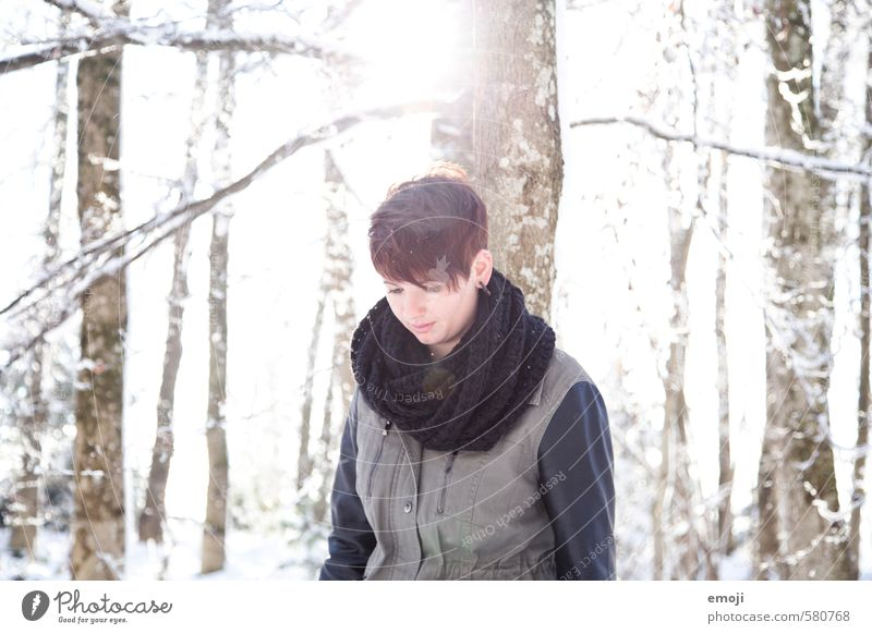winter Feminine Young woman Youth (Young adults) 1 Human being 18 - 30 years Adults Environment Nature Landscape Winter Beautiful weather Snow Forest Cold