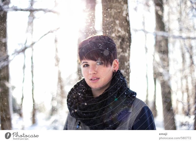 sun dance Feminine Young woman Youth (Young adults) 1 Human being 18 - 30 years Adults Environment Nature Landscape Winter Snow Snowfall Brunette Short-haired