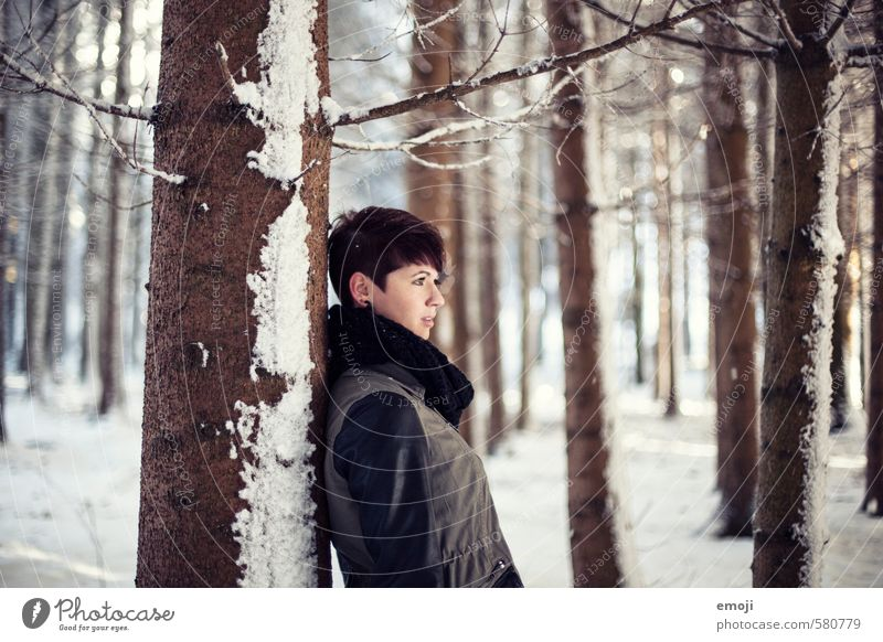 Magical Feminine Young woman Youth (Young adults) 1 Human being 18 - 30 years Adults Environment Nature Landscape Winter Snow Forest Beautiful Cold Brown White