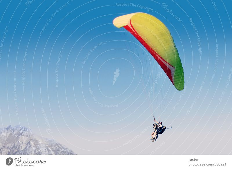paragliding Joy Happy Athletic Vacation & Travel Adventure Far-off places Mountain Paragliding Sports Paraglider Human being Body 2 Nature Landscape Air Sky