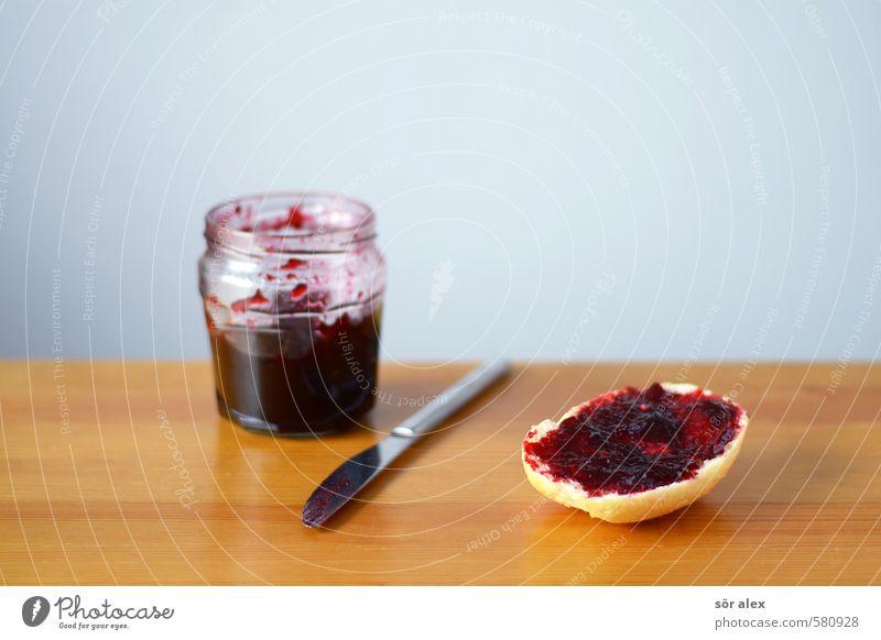 hmm Food Roll Jam Jam jar Nutrition Eating Breakfast Cutlery Knives Delicious Sweet Healthy Eating Morning break Sandwich jam rolls Breakfast table Tabletop