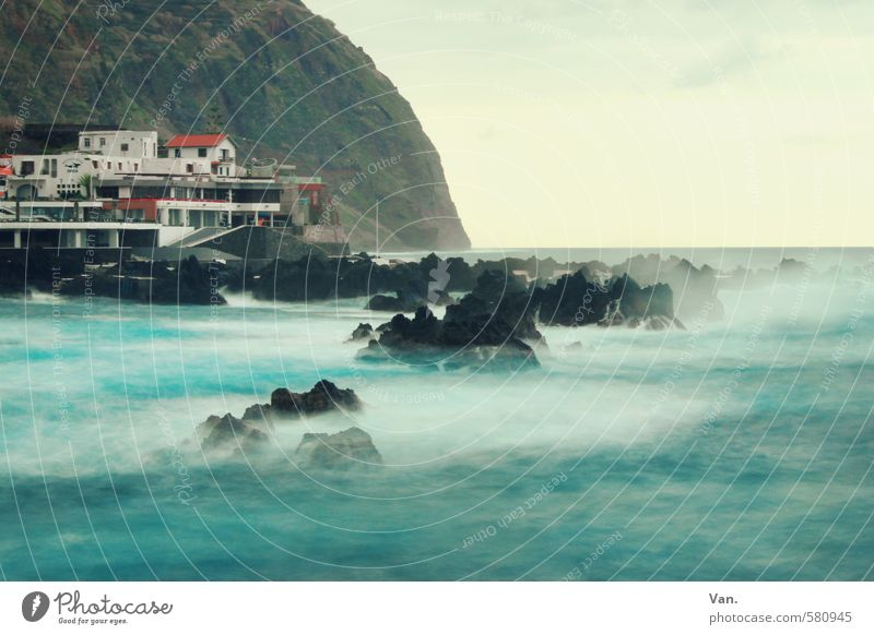 Sky Vacation & Travel Blue Water Ocean Landscape Clouds House (Residential Structure) Mountain Coast Stone Rock Waves Wind Island Village