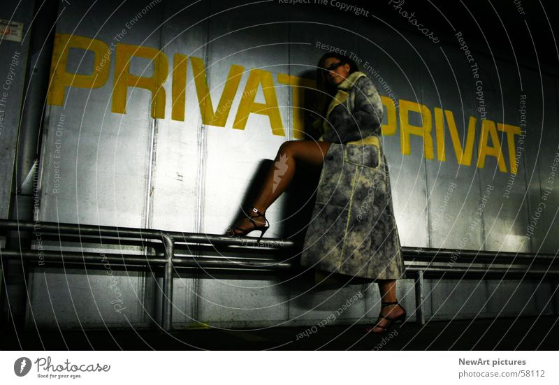 Woman Eroticism Wall (building) Legs Fashion Romance Model Coat Garage Tin Private Underground garage