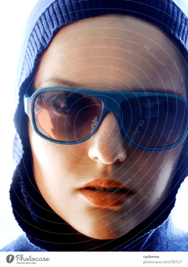 sunglasses everywhere II Sunglasses Lips Lipstick Style Model Portrait photograph Woman Posture Row Light Hooded (clothing) Looking Facial expression Face
