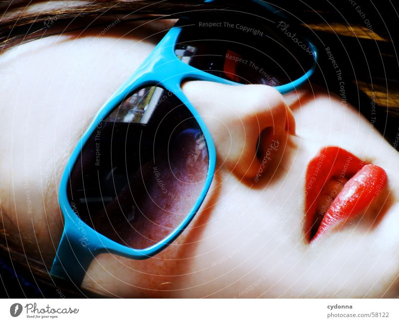 sunglasses everywhere III Sunglasses Lips Lipstick Style Model Portrait photograph Woman Posture Row Light Hooded (clothing) Looking Facial expression Face