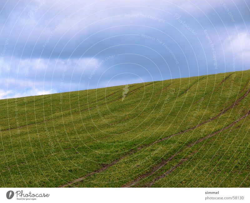 Green Blue Clouds Mountain Field Earth Hill Furrow