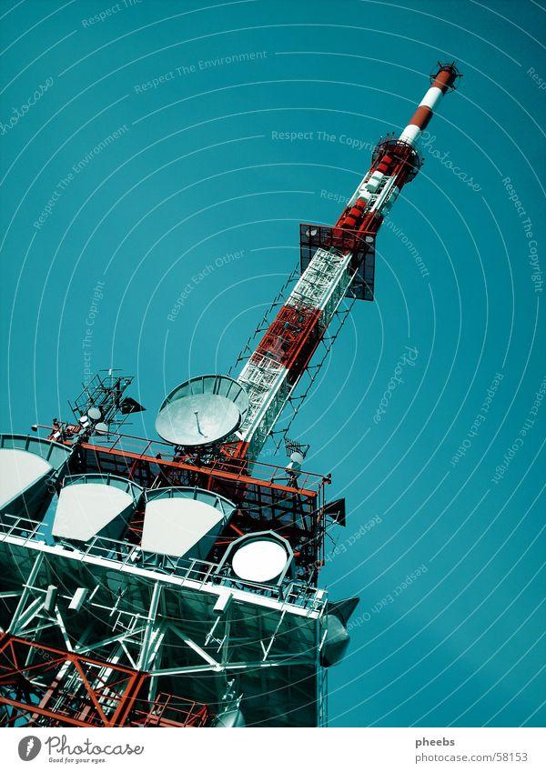 transmitter tower Broacaster Transmitting station Red White Gaisberg Tower sky. blue satelite Scaffold