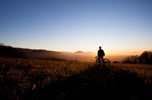 The mountain cyclist Joy Leisure and hobbies Vacation & Travel Tourism Trip Far-off places Freedom Cycling tour Mountain Sports Fitness Sports Training
