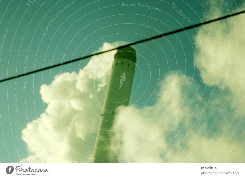 Old Sky Green Blue Clouds Line Dirty Tall Railroad Retro Industrial Photography Smoke Chimney Environmental pollution Yellowed Ozone