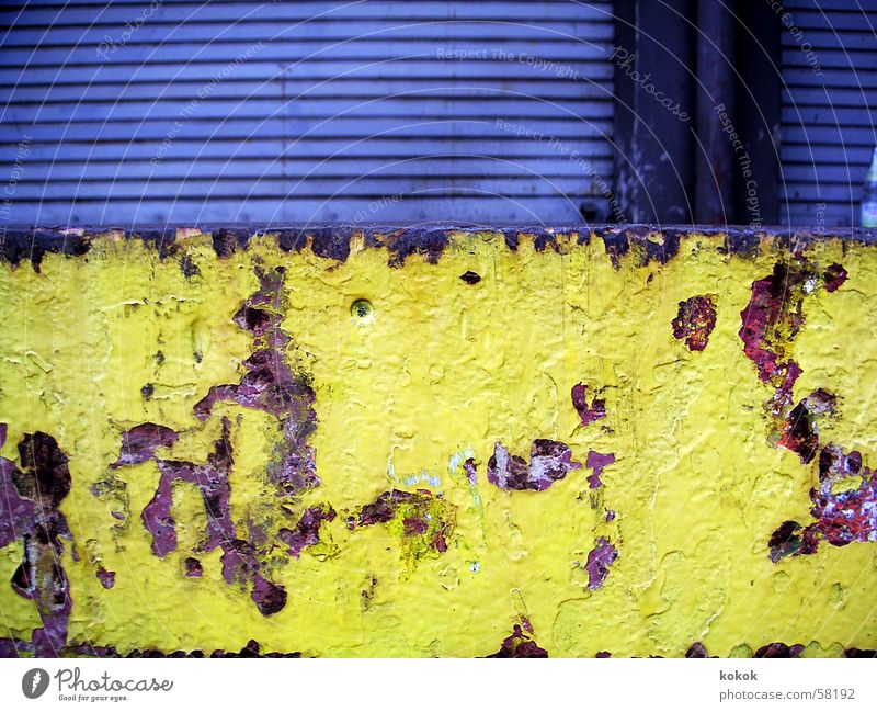 loading bay Ramp Stuttgart Load Derelict Yellow Brown Gray Roller shutter Closed Flake off Decline Destruction Gloomy Loneliness Calm Exterior shot Germany