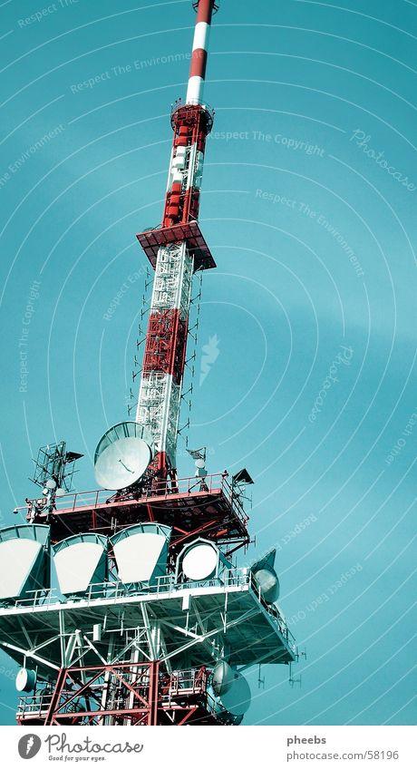 transmitter tower 2 Broacaster Transmitting station Red White Gaisberg Station Tower sky. blue satelite Scaffold