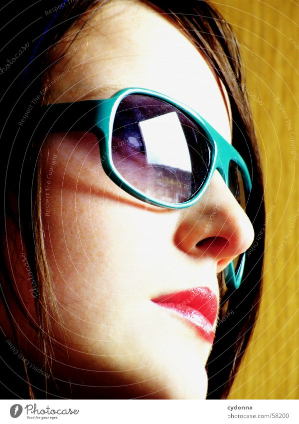 Sunglasses everywhere VI Lips Lipstick Light Style Row Woman Portrait photograph Skin Hooded (clothing) session Human being Face Looking Facial expression