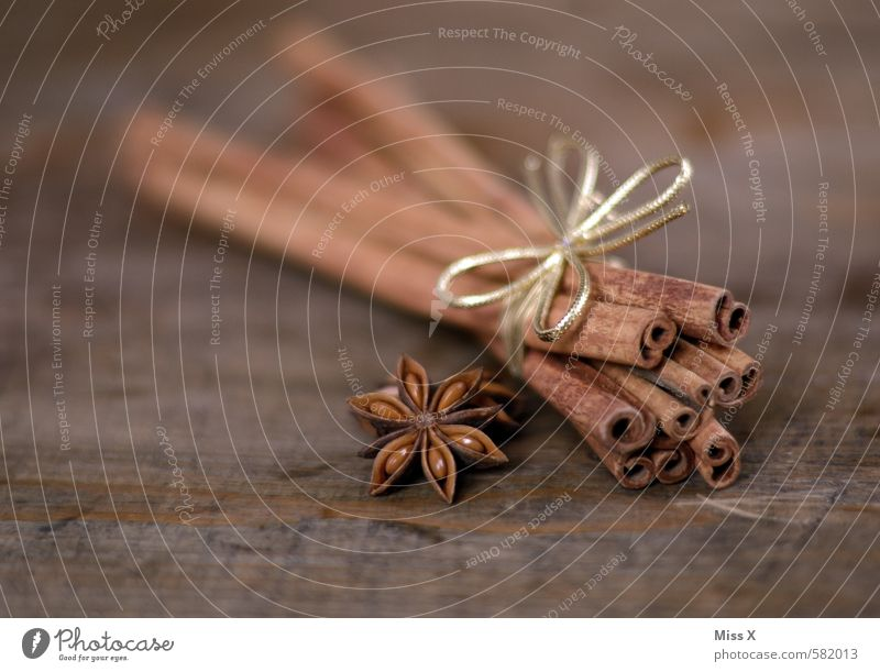 cinnamon Food Herbs and spices Nutrition Decoration Bow Fragrance Delicious Brown Still Life Cinnamon cinnamon bark Tree bark Star aniseed Star (Symbol)