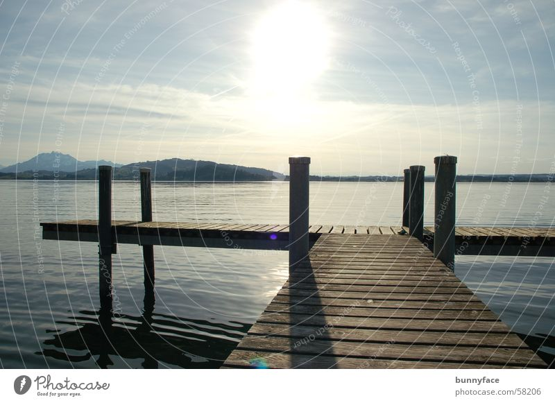 Water Sun Blue Calm Loneliness Dream Lake Coast Wait Hope Break Romance Vantage point Desire Footbridge To enjoy