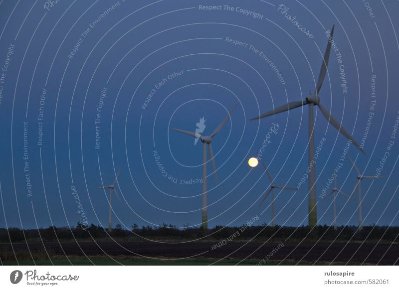 Moon vs. Energy I Agriculture Forestry Energy industry Renewable energy Wind energy plant Energy crisis Nature Landscape Air Sky Cloudless sky Night sky
