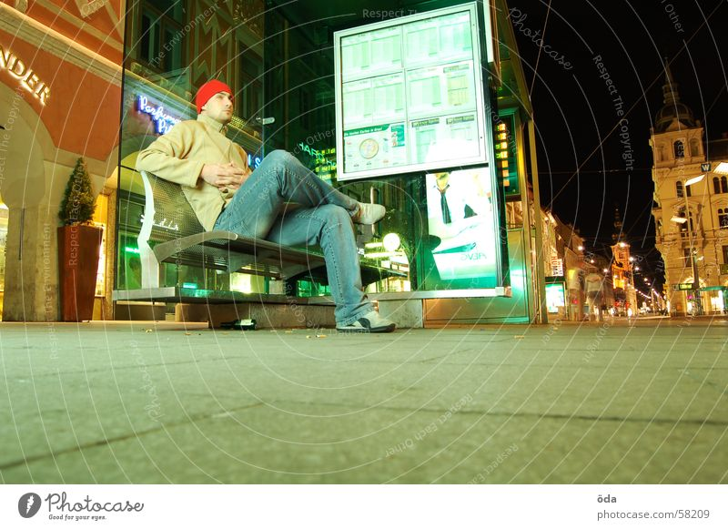 waiting Man Tram Shelter Graz Main square Schedule (transport) Planning Places Wait Bus Sit Bench time display Paving stone