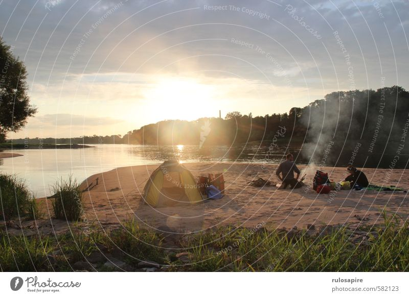 On the Elbe Vacation & Travel Adventure Camping Summer Nature Fire Water Clouds River bank Elbe Cycle Route Sand Discover Relaxation To enjoy Hiking Gold