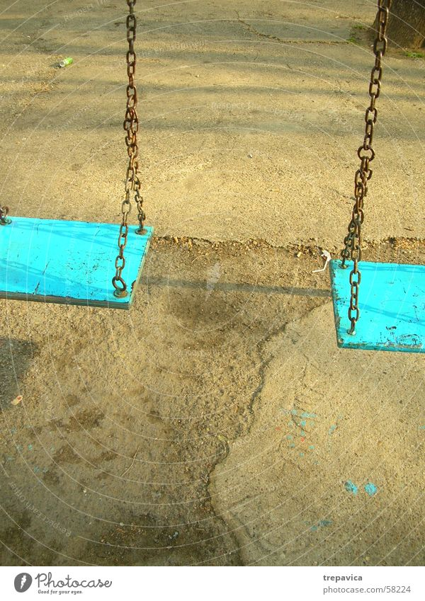 Blue Concrete Chain Swing Playground