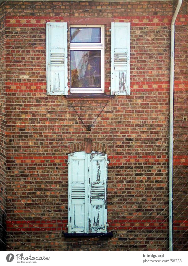 windows Roller shutter Window Brick Old building Wall (barrier) Wall (building) Pane Shutter Window board Windowsill Historic Detail old