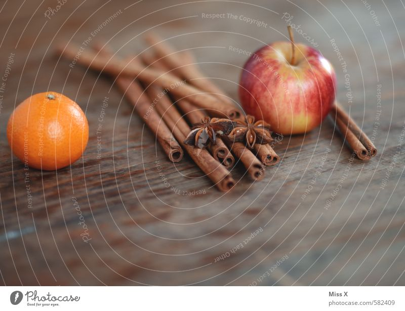 Cinnamon bark and apple Food Fruit Apple Orange Herbs and spices Nutrition Decoration Christmas & Advent Fragrance Delicious Juicy Sweet Star aniseed Tangerine