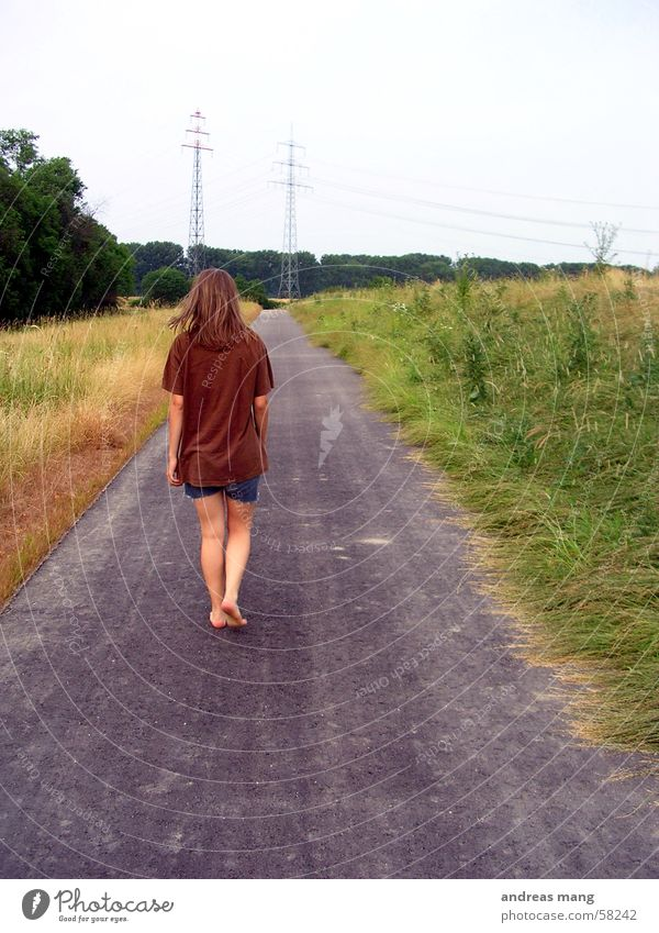 Woman Loneliness Street Field Walking Asphalt Long Footpath
