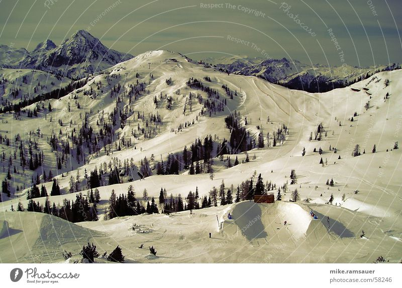 Tree Snow Mountain Jump Art Large Skis Americas Barrier Halfpipe Ski run Alpine Dimension Country art