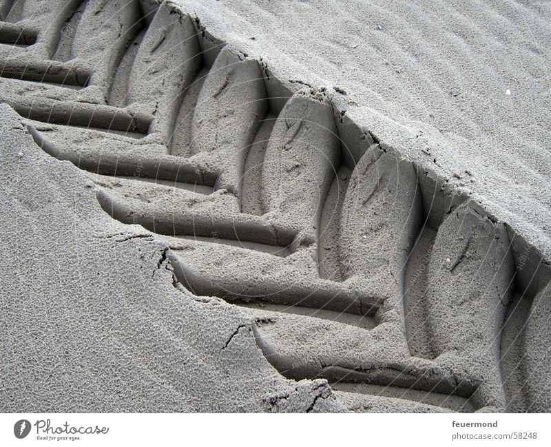 flattened Tracks Pattern Style Beach Sand Tractor track