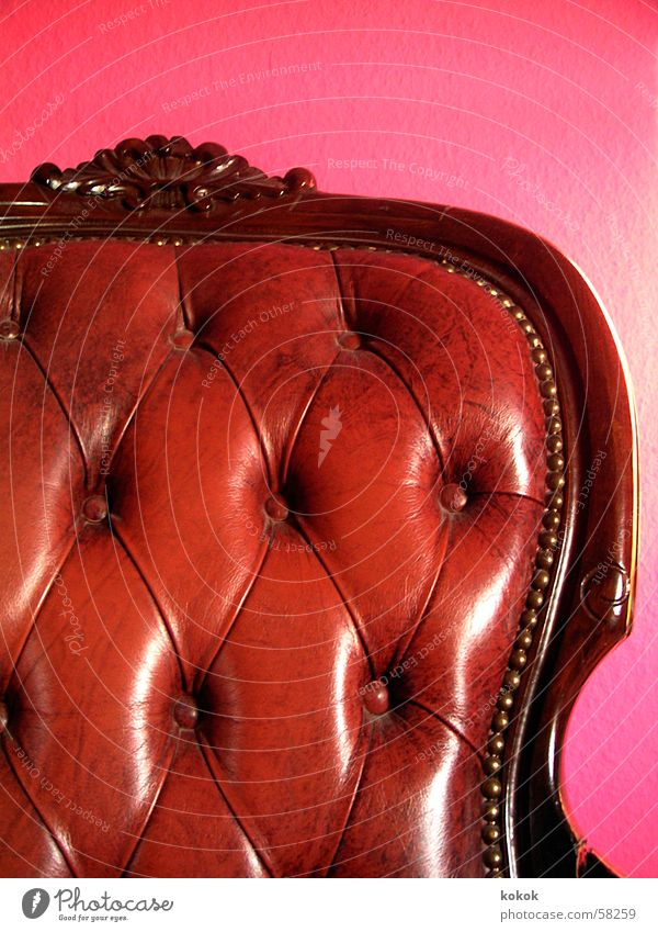 now also in color Armchair Ancient Antique Flea market Bulky Sublime Leather Brown Glittering Polish Pink Magenta Time Comfortable Calm Luxury Memory