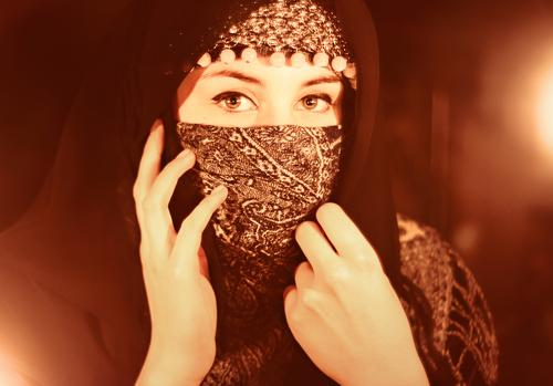 obscured Feminine Head 1 Human being 18 - 30 years Youth (Young adults) Adults Jewellery Headscarf Timidity Religion and faith Candlelight Packaged Laminate