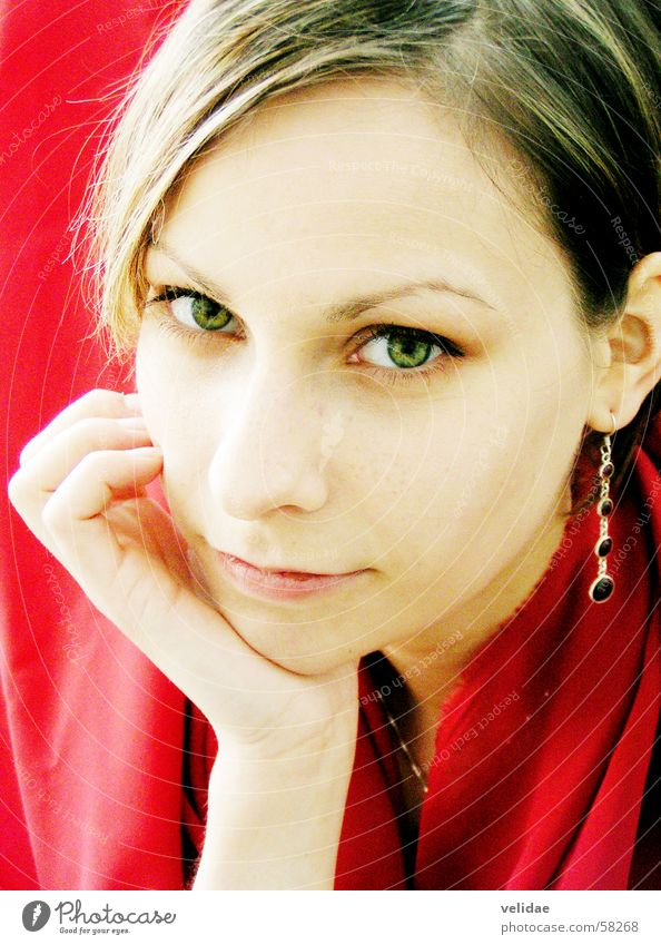 green eyes Young woman Portrait photograph Multicoloured Rag Eyes Face high contrasts