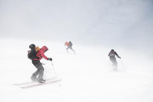 headwind Adventure Sports Winter sports Climbing Mountaineering Skiing Human being 3 18 - 30 years Youth (Young adults) Adults Gale Snow Lyngen Alpes Freeze
