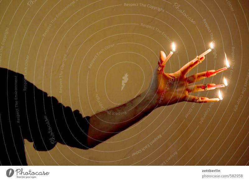Christmas Christmas & Advent Flame Candle Candlelight Lighting Illuminate wallroth Anti-Christmas Hand Arm Underarm Candle holder Fingers Illumination