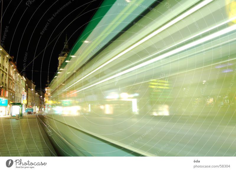 Lights&Movement Long exposure Tram Driving Railroad tracks Main square Graz Night Lighting Lamp
