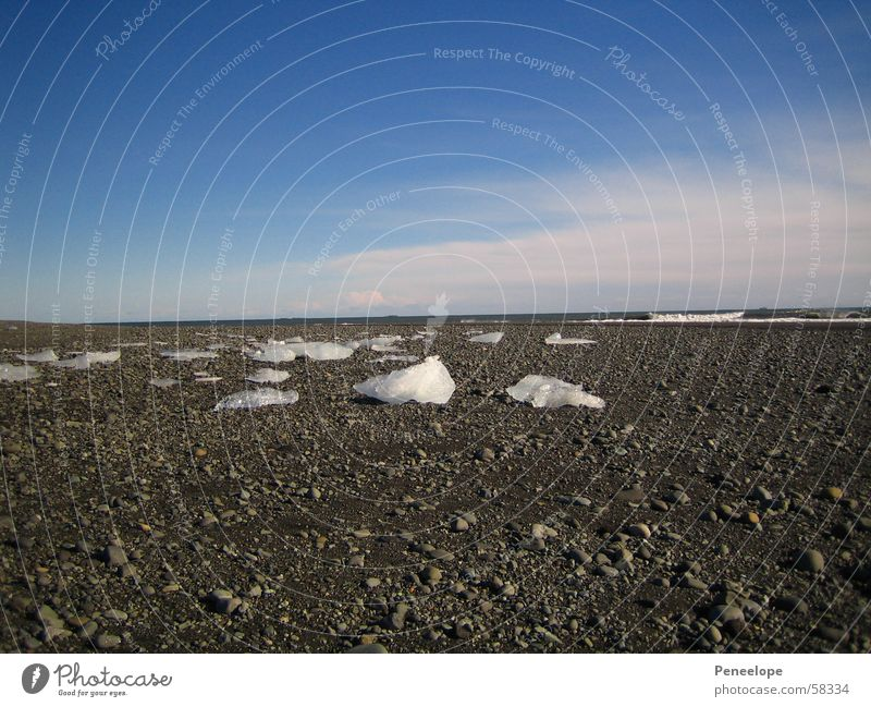 Sky Blue White Beautiful Ocean Winter Beach Clouds Far-off places Stone Ice Weather Crystal structure Iceberg