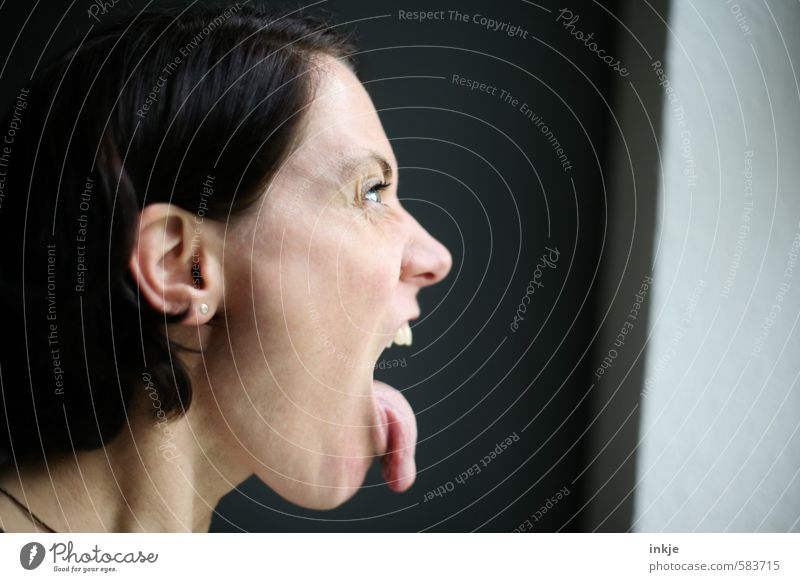 :-P Lifestyle Style Leisure and hobbies Woman Adults Face Tongue 1 Human being 30 - 45 years Communicate Make Looking Aggression Crazy Anger Emotions Moody