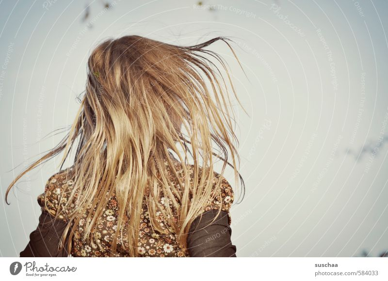 hairy Feminine Child Girl Infancy Head Hair and hairstyles 8 - 13 years Sky Brunette Long-haired Free Hop Movement Strand of hair Colour photo Subdued colour