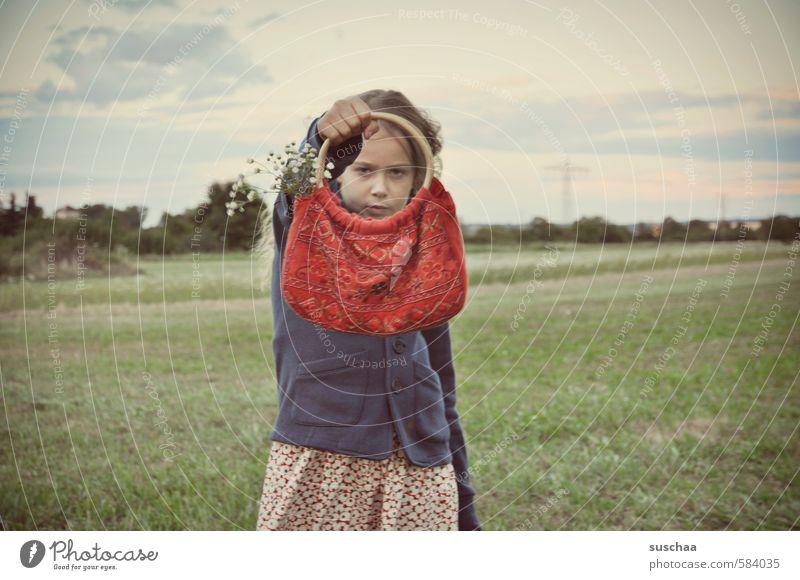 Human being Sky Child Nature Summer Girl Environment Face Feminine Head Field Body Infancy Retro 8 - 13 years Brash