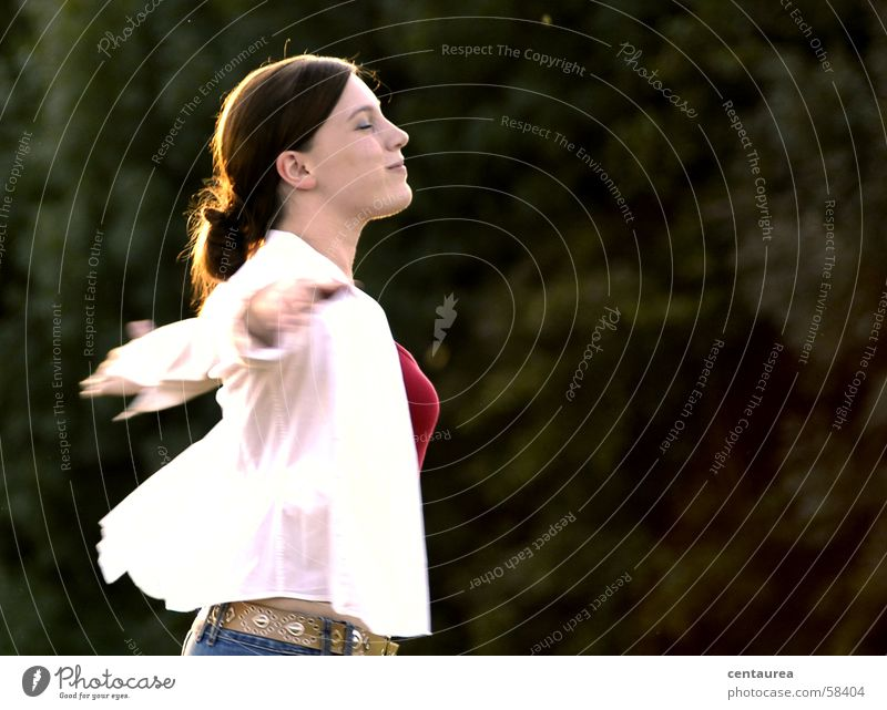 Woman Happy Flying Happiness To enjoy Easy Hover Flexible Light heartedness