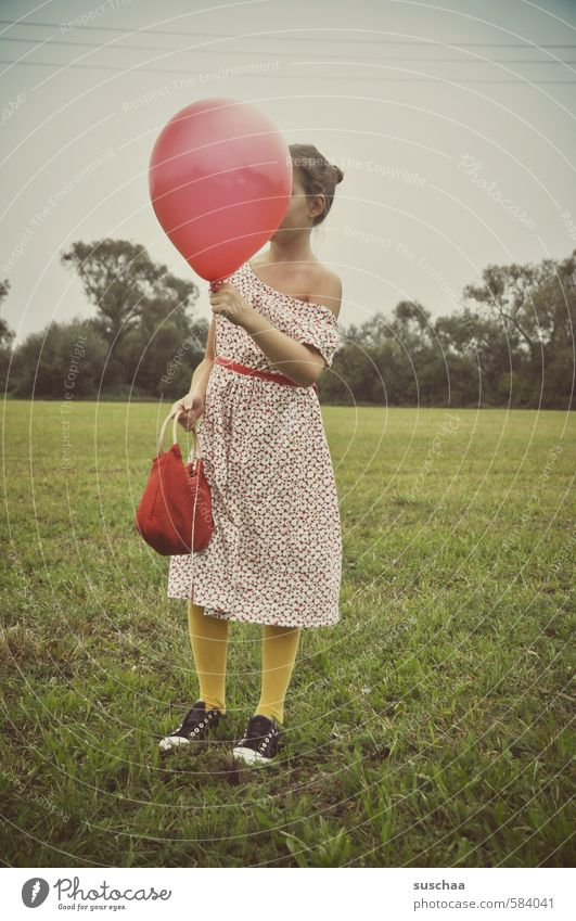 red balloon Feminine Child Girl Young man Youth (Young adults) Infancy Life Body Skin Head Arm Hand Legs Feet 1 Human being 8 - 13 years Environment Nature