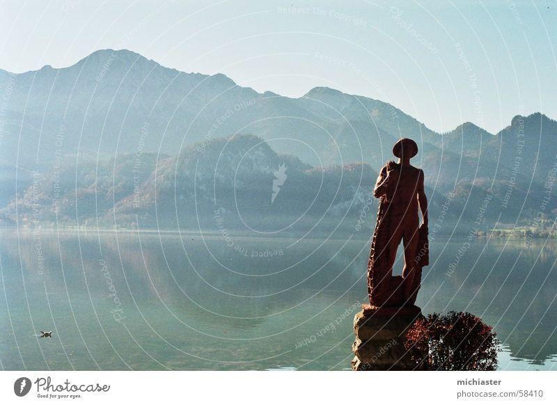 Water Mountain Stone Lake Hiking Vantage point Alps Idyll Bavaria Lake Kochelsee