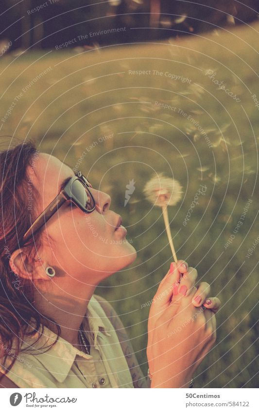 Dandelion - make a wish Lifestyle Luxury Happy Game of chance Lottery Roulette Girl Young woman Youth (Young adults) Head Hair and hairstyles Face Hand 1