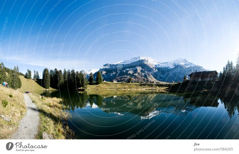 Lac Retaud Well-being Contentment Relaxation Calm Trip Summer Mountain Hiking Nature Landscape Water Autumn Beautiful weather Rock Alps Peak Glacier Lakeside