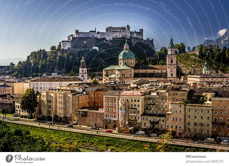 Hohensalzburg Fortress with the Old Town in the foreground Vacation & Travel Tourism Trip Summer Summer vacation Spring Autumn Meadow Lakeside Salzburg