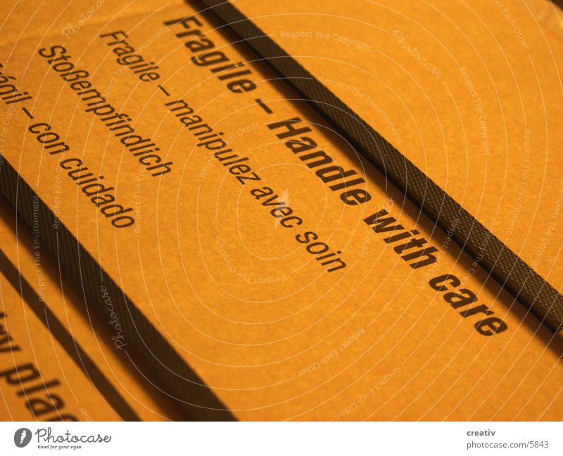 Handle with care Packaging Things Cardboard shock-sensitive