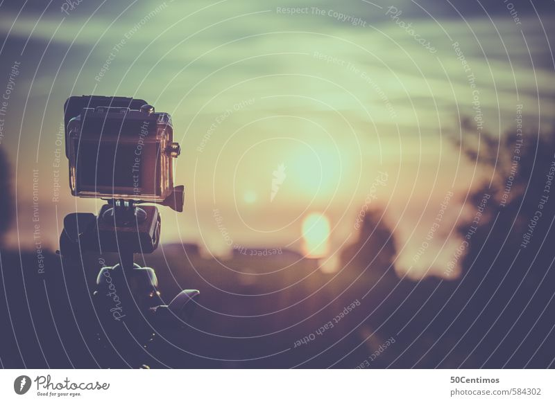 Small camera films the sunset Vacation & Travel Video camera Camera Film industry Environment Landscape Sun Sunrise Sunset Sunlight Plant To enjoy Yellow Gold