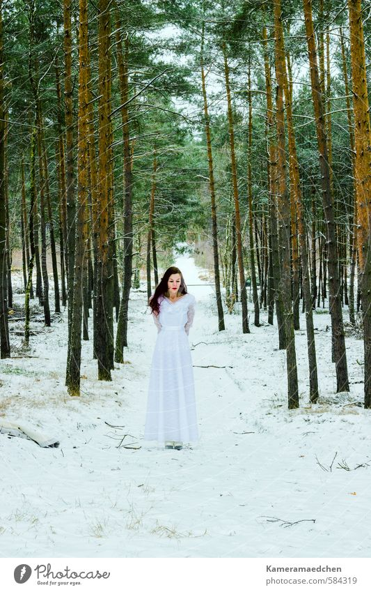 Human being Woman Nature White Winter Forest Cold Adults Sadness Emotions Snow Feminine Dream Moody Stand Wait