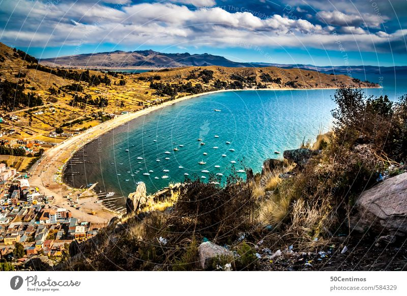 Copacabana in Bolivia Vacation & Travel Tourism Trip Adventure Far-off places Freedom Sightseeing City trip Summer Clouds Climate Island Lake Titicaca lake