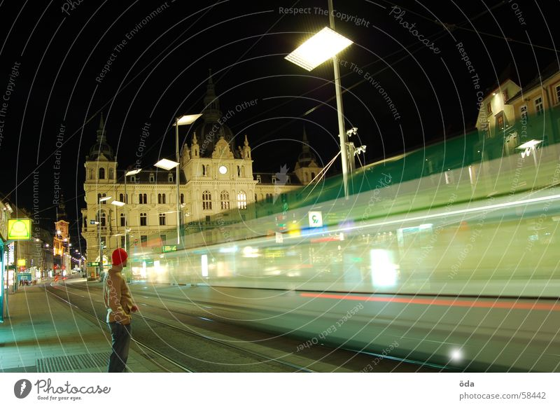 Man Lamp Movement Lighting Wait Driving Railroad tracks Station Federal State of Styria Historic Tram Graz Austria Main square