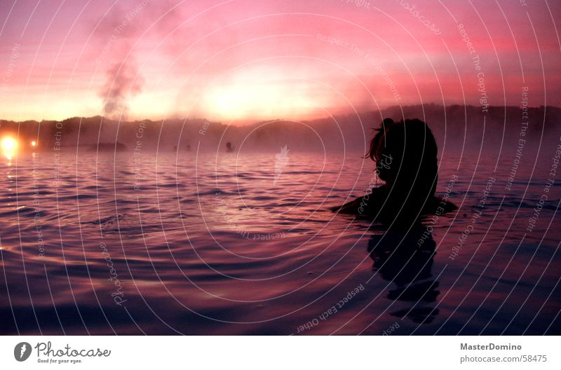 Woman Human being Water Beautiful Sky Black Clouds Relaxation Moody Waves Glittering Pink Wet Wellness Soft Mask