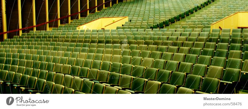 cinema Cinema Chair Places Movie hall Hall Green Yellow Plush Entrance Way out Projection room Empty Deserted Calm Interior shot Seating Blue Warehouse Room